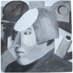 Studies (black and white 2), oil on board
